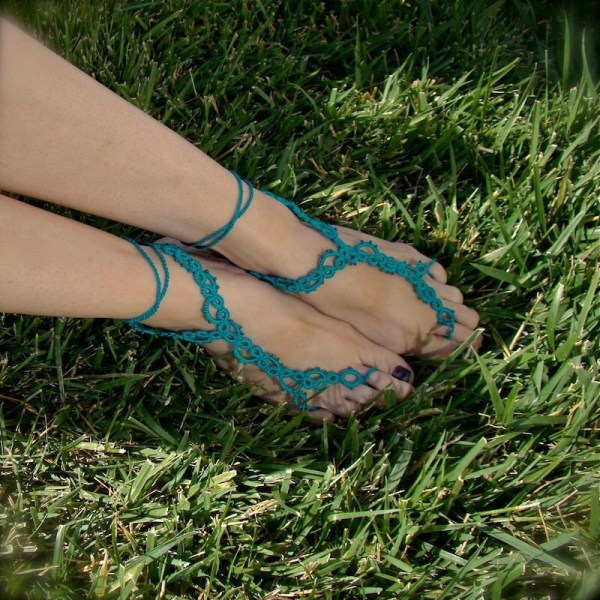 Vine Tatted Lace Barefoot Sandals Ocean Teal
