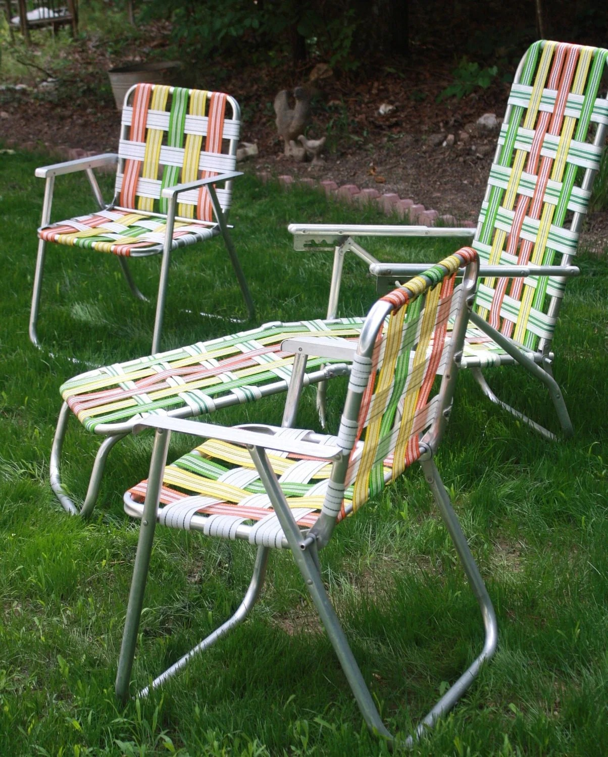retro kitchen table and chairs set red aluminum woven folding patio outdoor furniture bright
