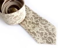 Boudoir Lace necktie. Men's silkscreen tie ivory cream