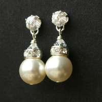 Modern Vintage Pearl Bridal Earrings STERLING SILVER Wedding