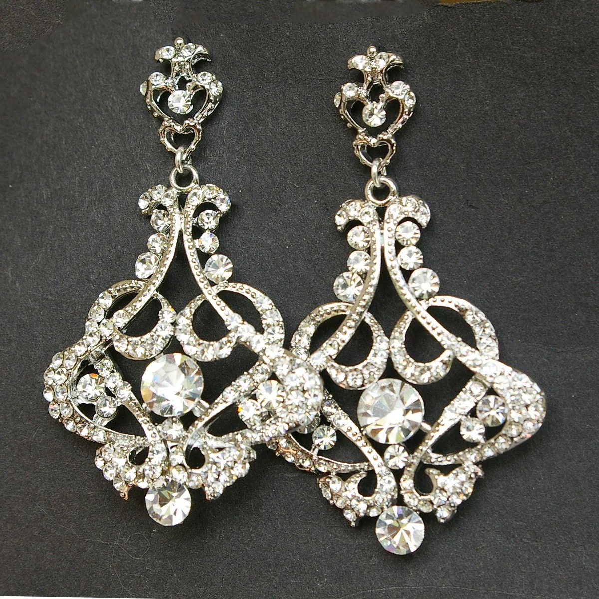 Crystal Chandelier Bridal Earrings Vintage Wedding Earrings