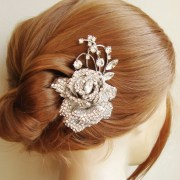 crystal rose bridal hair comb