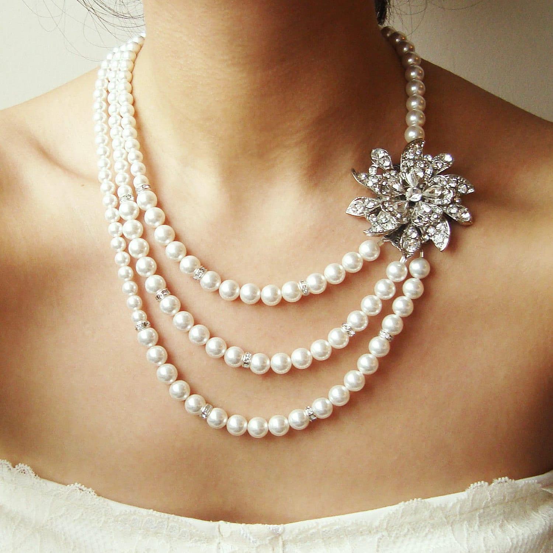 Bridal Necklace Art Deco Wedding Necklace Statement Bridal