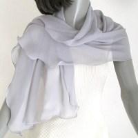 Gray Chiffon Wrap Petite Silk Wrap Silver Gray Shawl Light