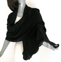 Black Silk Shawl Silk Crepe Wrap Solid Black Formal by ...
