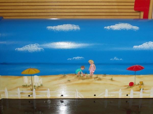 handpainted beach scene mailbox