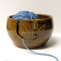 Yarn Bowl knitting bowl yarn holder Crochet bowl Leaves