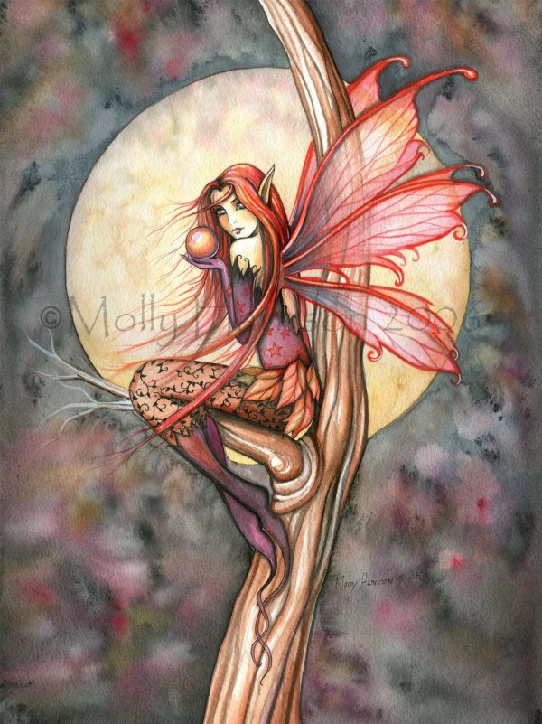Autumn Red Gothic Fall Fairy Fantasy Art Watercolor Giclee