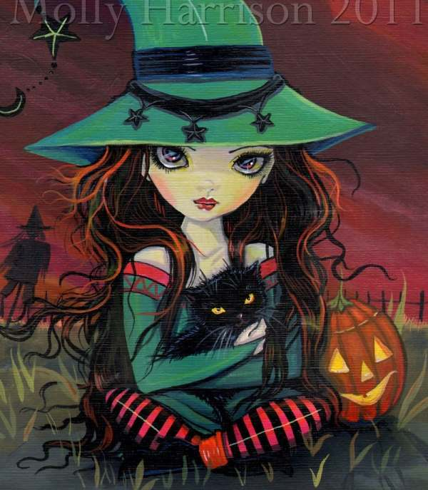 Molly Harrison Art Halloween Witches