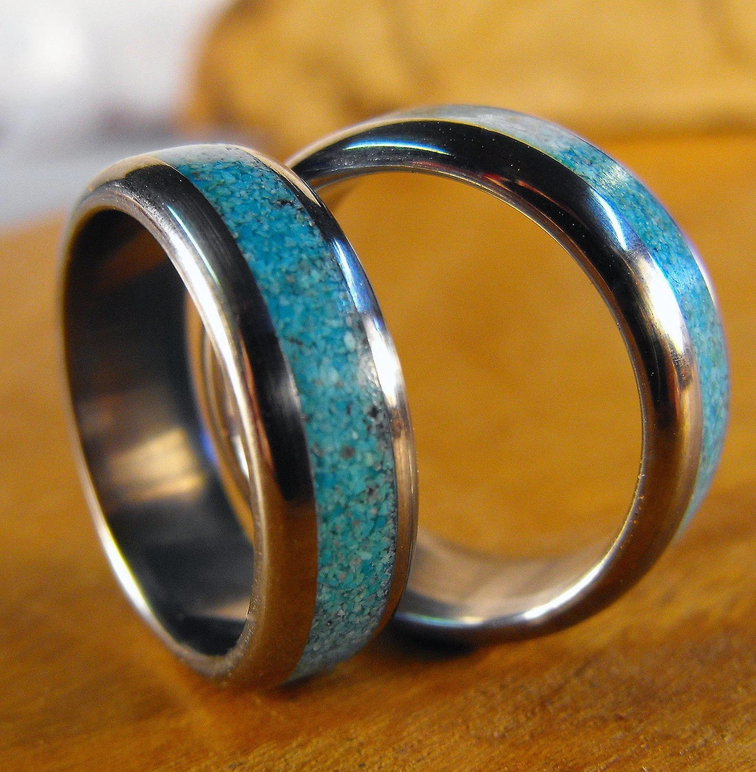 Titanium Rings Wedding Rings Turquoise Rings Wedding Band