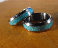 Titanium Rings Wedding Rings Turquoise Rings His and Hers