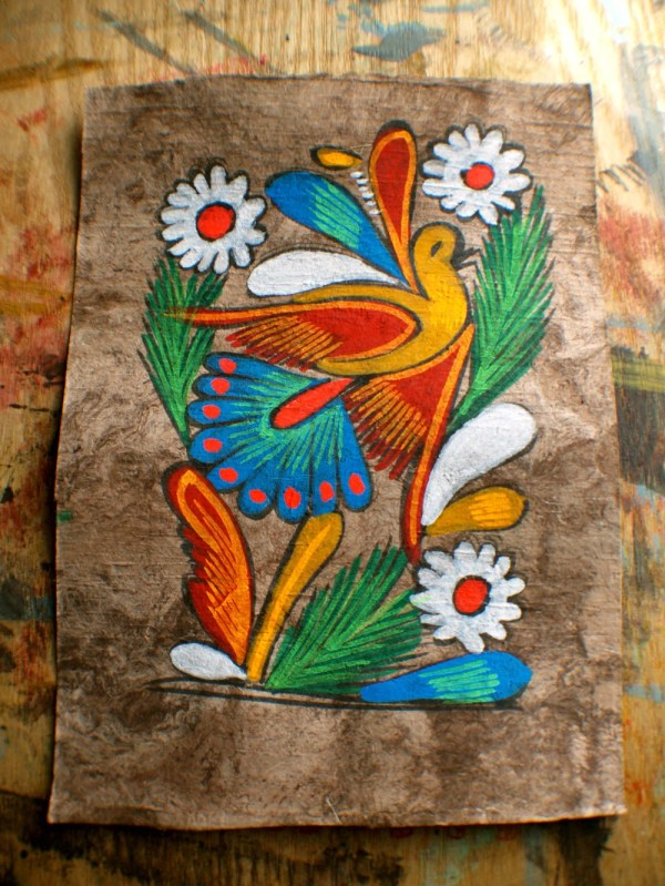 Vintage Amate Bark Painting Mexican Folk Art Ashburylane