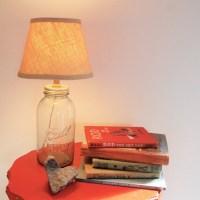Mason Jar Lamp Made From Vintage Blue Mason Jar