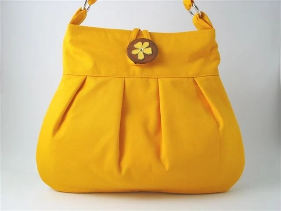 Yellow large handmade pleated bag