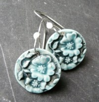 Porcelain Earrings Cherry Blossoms in Dirty by RoundRabbit