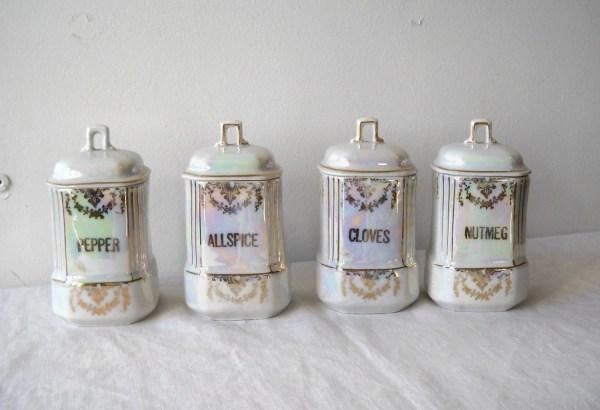 Vintage Porcelain Lustre Spice Jars Germany