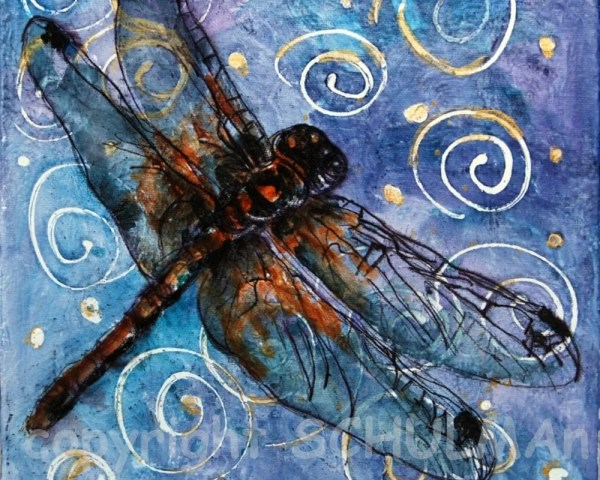 Dragonfly Painting Modern Abstract Contemporary Schulmanarts