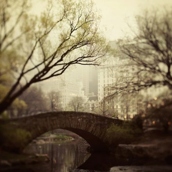 25 % OFF NYC Photograph, Black Friday Etsy Men, Travel Photography - Fairytale of New York - Central Park in Fog, Mad Men, Bridge
