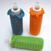 Baby Bottle Covers by yarndeb on Etsy