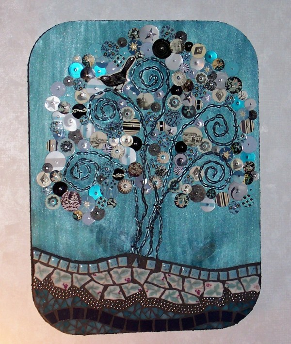 Mixed Media Mosaic Art Plaque-turquoise And Silver