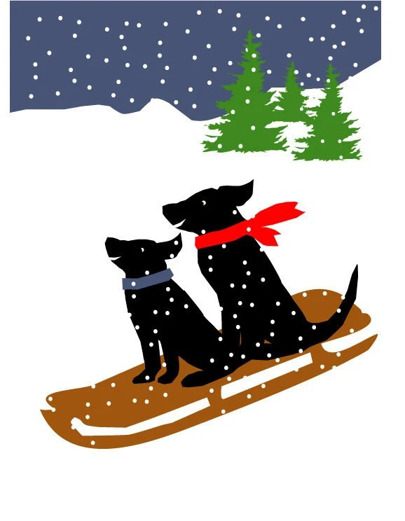 Greeting Card Collection Black Labs In Winter 8 Cards Special