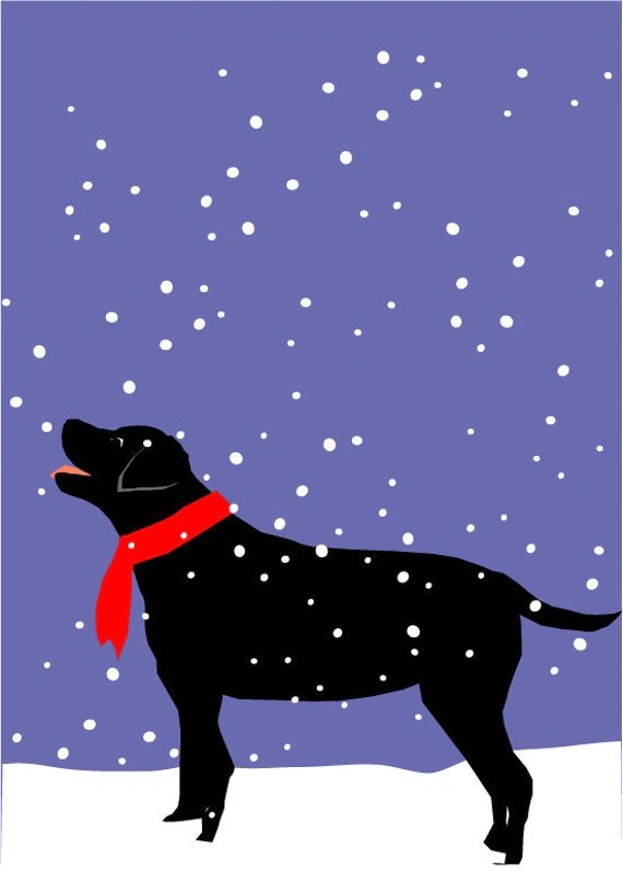 Black Lab In Snow Dog Greeting Card Collection Christmas