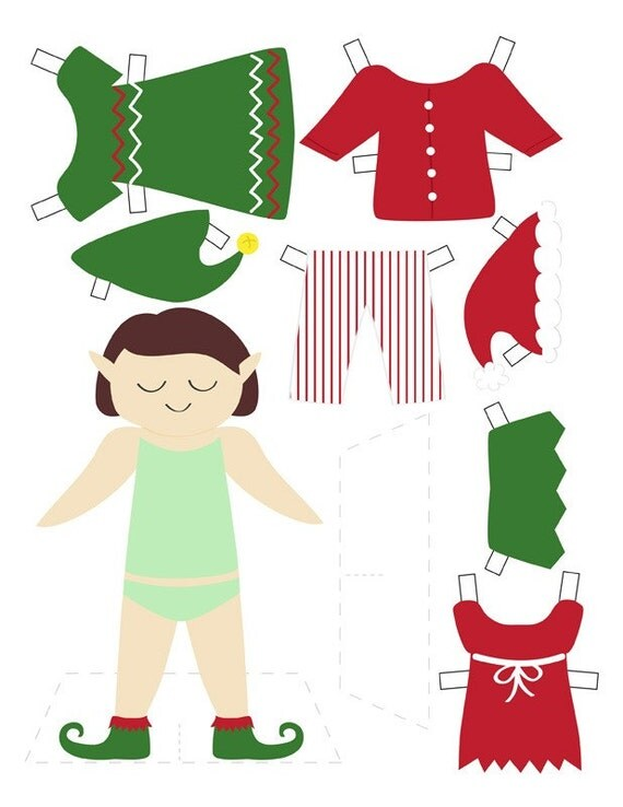 Elf Paper Doll Clothes Template