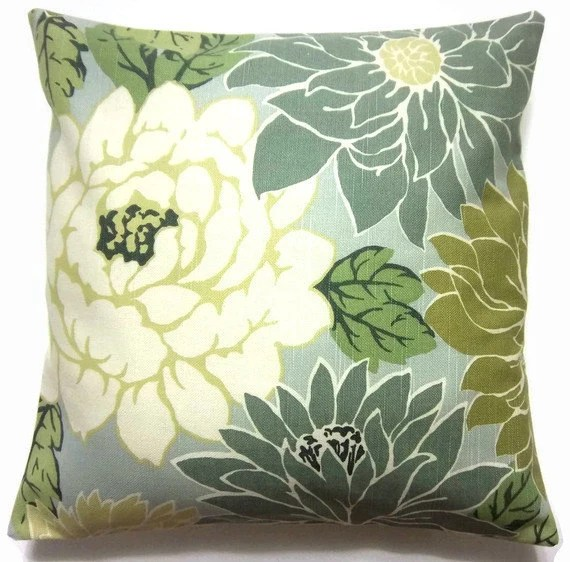 Two Mint Green Off White Olive Green Teal Pillow Covers Toss