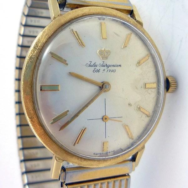 Vintage Mens 14k Jules Jurgensen Watch With Original Box