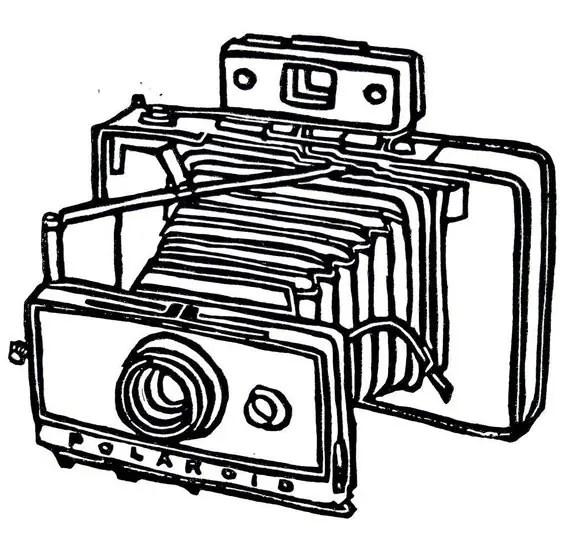 vintage polaroid camera linoleum block print 9 x