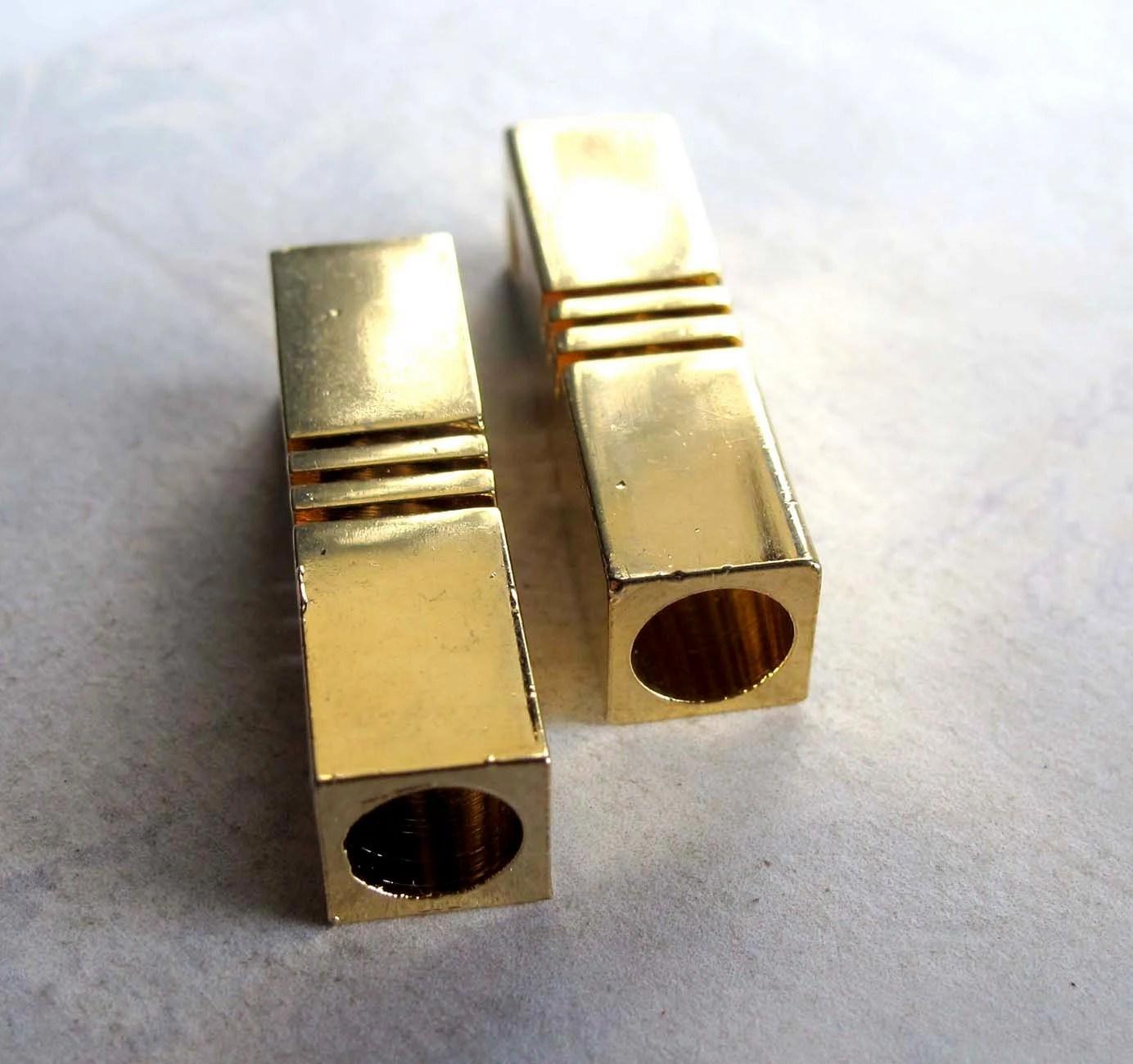 Vintage Geometric Gold Plated Rectangle Slot Pendants (2X) (V435) - EpochBeads