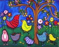 Colorful Birds and Flowers Fun Whimsical Colorful Folk Art