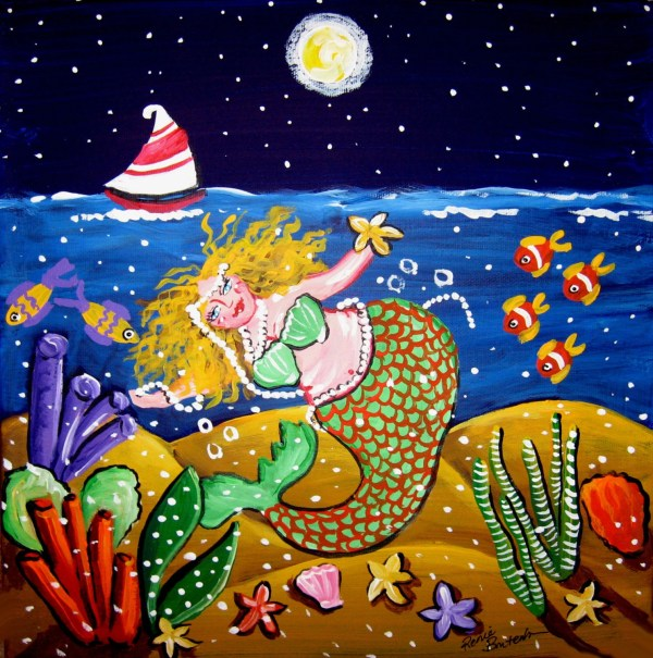 Green Mermaid Sailboat Whimsical Folk Art Giclee Print