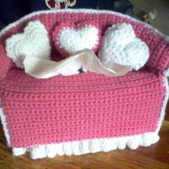 Crochet Sofa Cover Patterns Fevicol Furniture Book Designs Puffs Tissue Box Covers And Crocheted