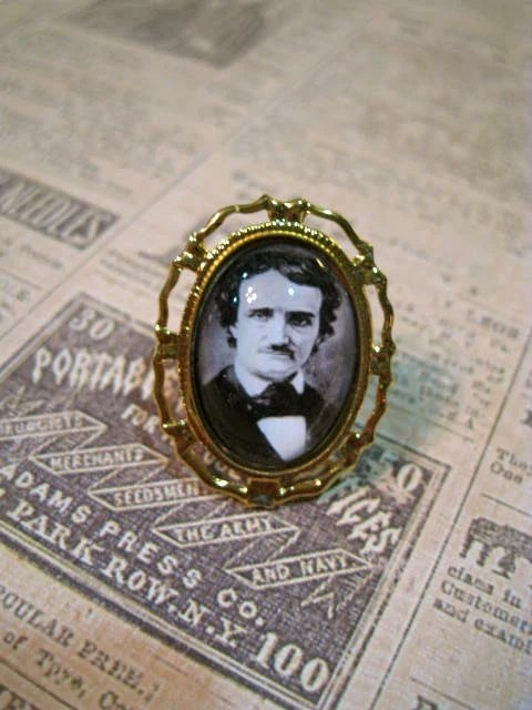 Edgar Allan Poe Golden Ring by justbedesigns on Etsy