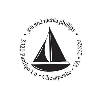 address stamp sailboat silhouette Custom Rubber Stamp sail