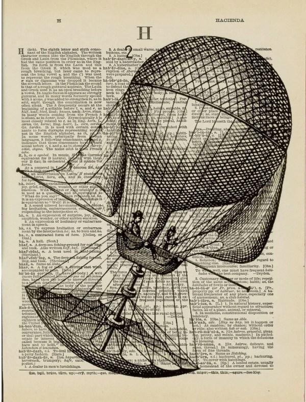Hot Air Balloon Airship Vintage Illustration Dictionary