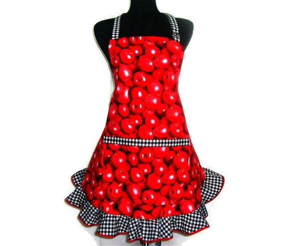 Full Kitchen Apron,  Red Apples, Retro Hostess Style Ruffle - ElsiesFlat