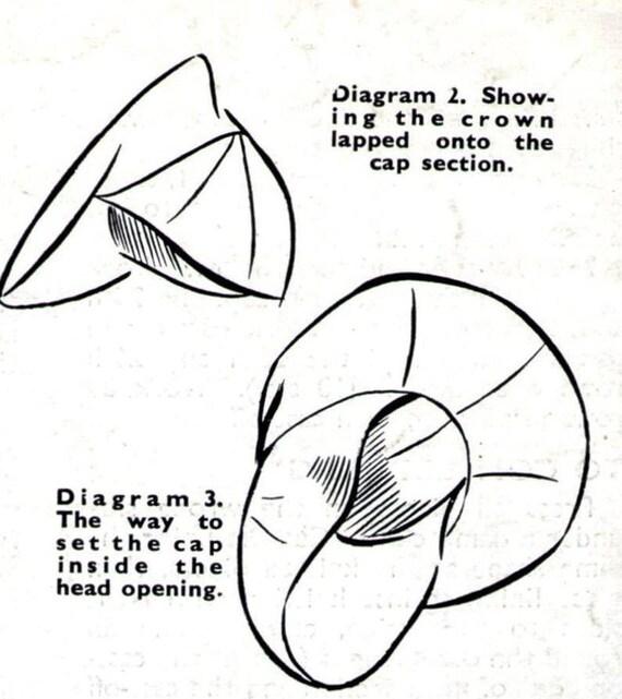 1940s Tilt Hat Beret and Bag Purse Weldons 335 Vintage