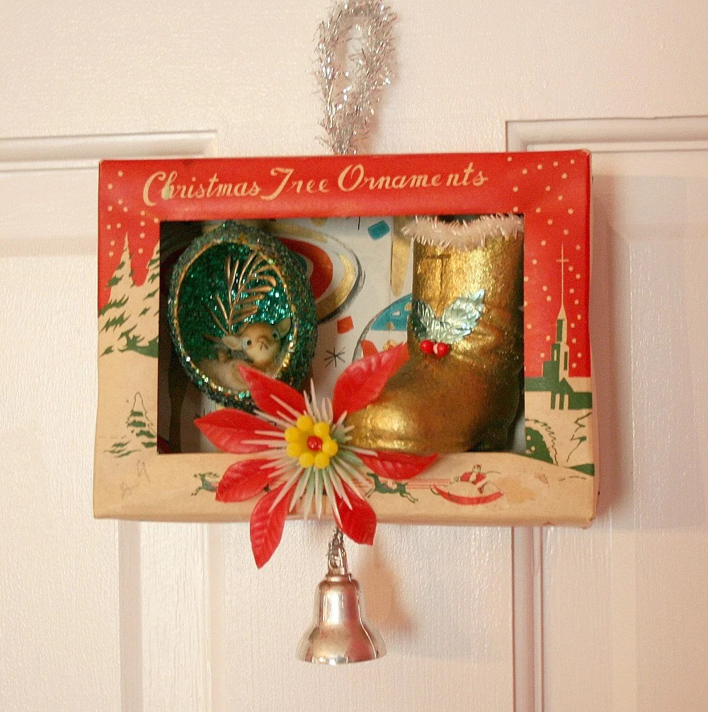 Vintage Christmas Ornament Box Diorama Kitsch Fun