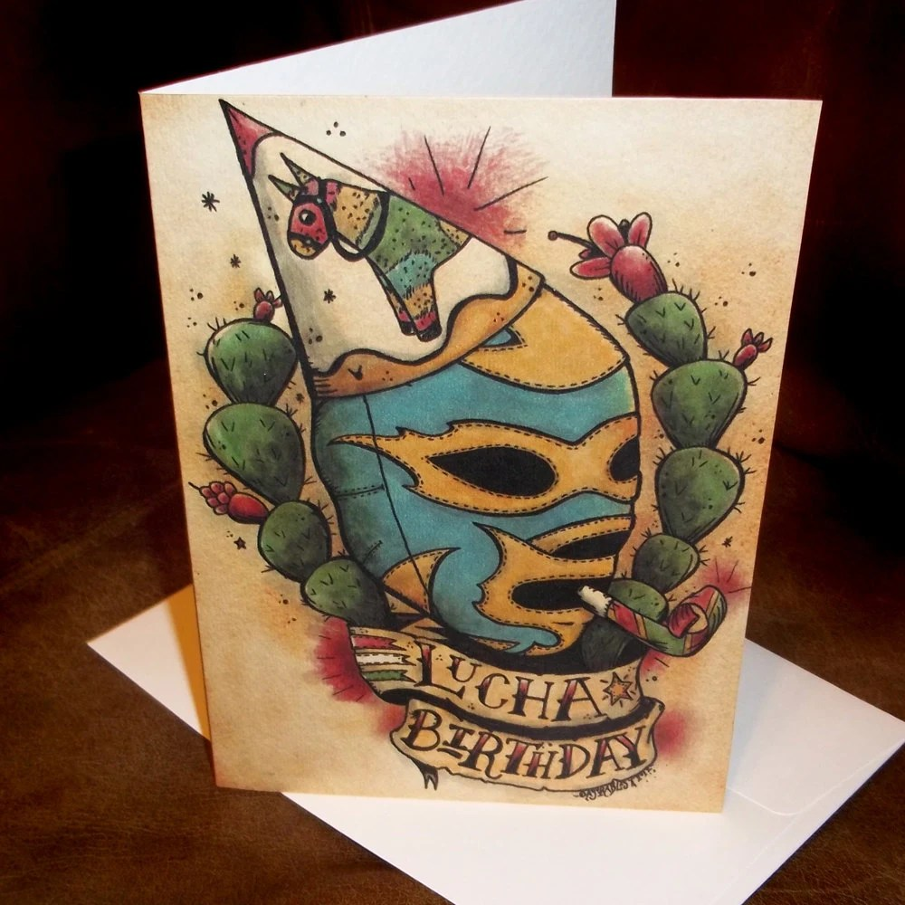 Lucha Libre Birthday Card Mexican Traditional Tattoo By