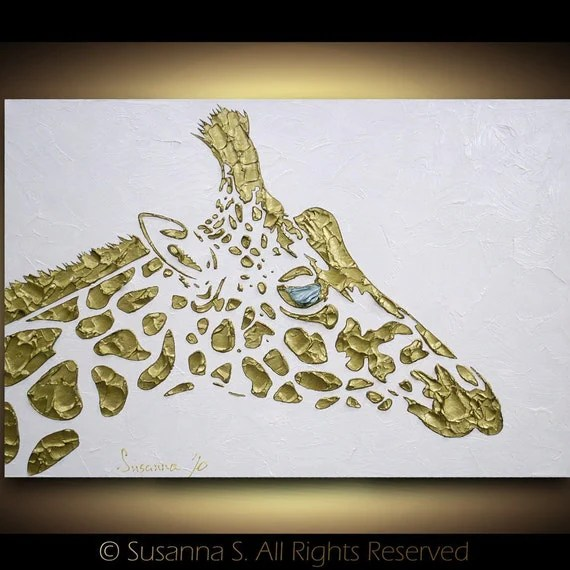 Original abstract giraffe painting contemporary fine art by Susanna Large 36x24 MADE2ORDER - ModernHouseArt