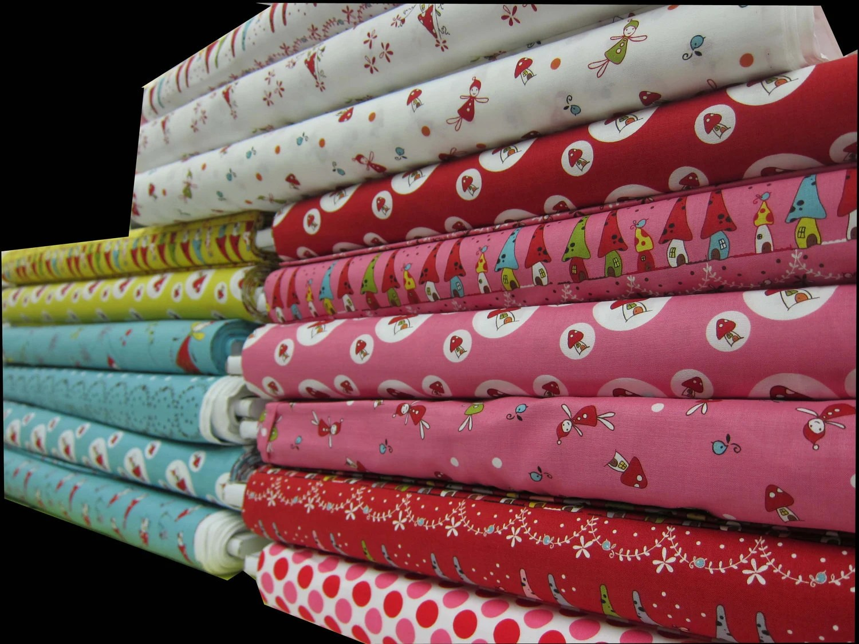 ONE YARD - LECIEN - Woodland by Natalie Lymer of Cinderberry Stitches -  Aqua Turqouise Toadstool House Village Neighbors - Japanese Fabric