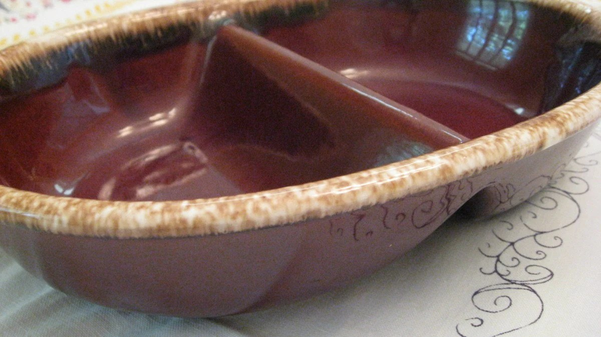 Vintage Hull Pottery Brown Dripware Divided Serving Dish