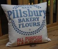 Vintage Flour Sack Pillow Cover 18 Inch Pillsbury Bakery