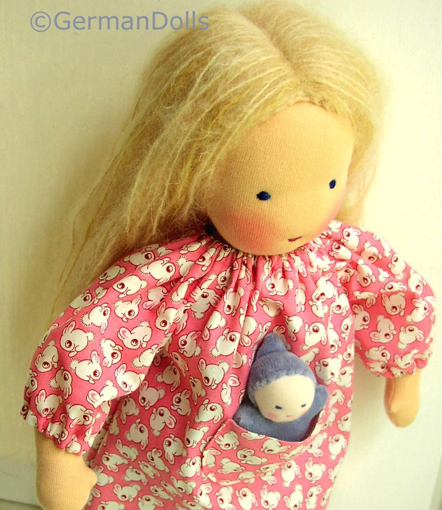 14 15 inch Waldorf doll clothes, Bunny Pocket Dress and Miniature Doll