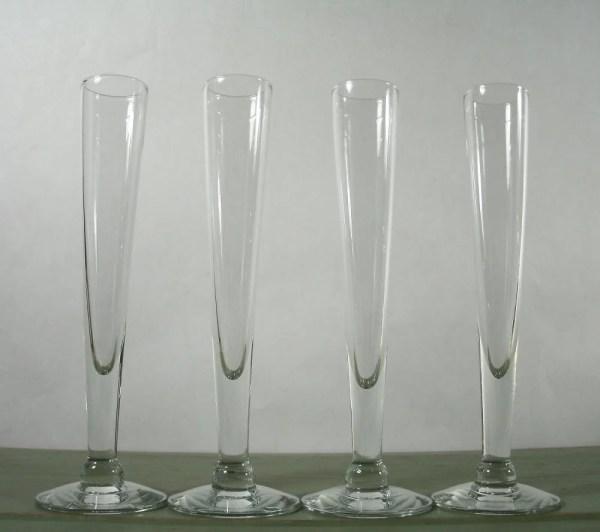 Vintage Set Of 4 Tall Cordial Glasses Stemware