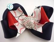 baseball hair bow custom design