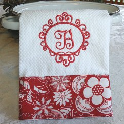 Monogrammed Kitchen Towels Table Light Towel Personalized Dish Red Floral