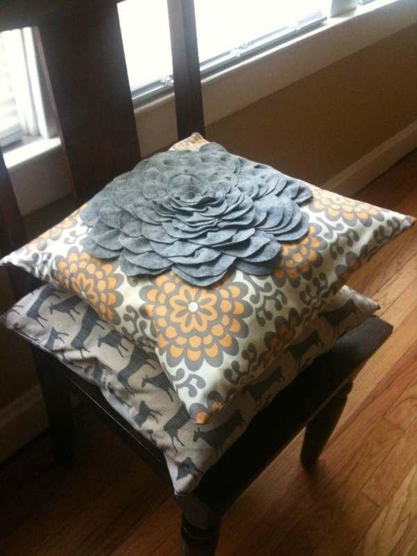 Amy Butler Lotus Wall Flower Felt Blossom Pillow Cover